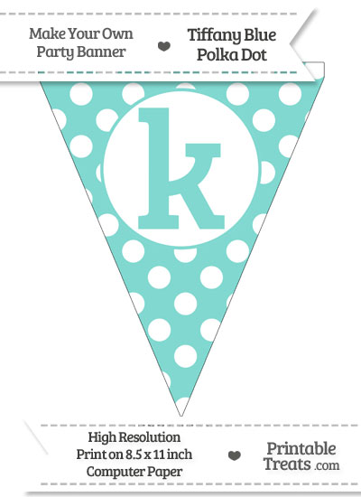 Tiffany Blue Polka Dot Pennant Flag Lowercase Letter K from PrintableTreats.com