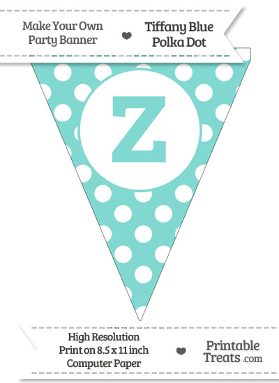 Tiffany Blue Polka Dot Pennant Flag Lowercase Letter Z from PrintableTreats.com
