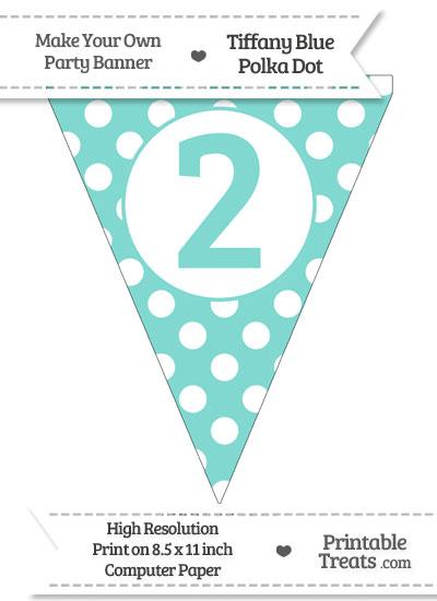 Tiffany Blue Polka Dot Pennant Flag Number 2 from PrintableTreats.com