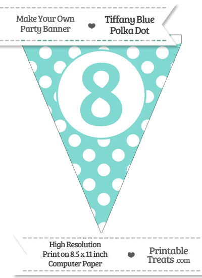 Tiffany Blue Polka Dot Pennant Flag Number 8 from PrintableTreats.com
