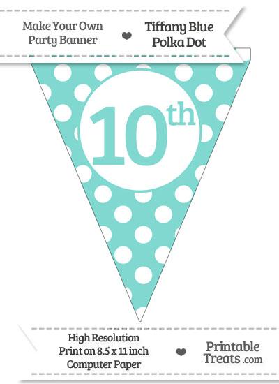 Tiffany Blue Polka Dot Pennant Flag Ordinal Number 10th from PrintableTreats.com