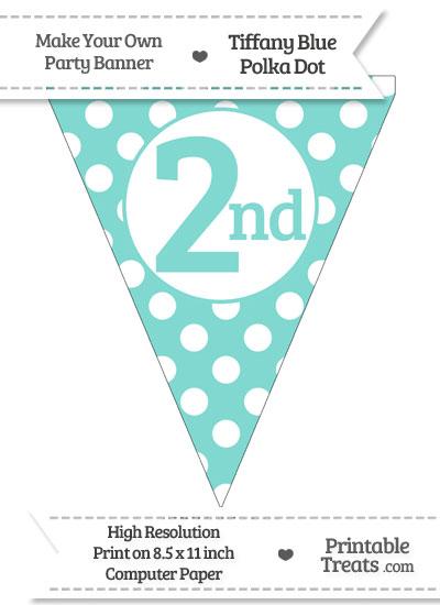 Tiffany Blue Polka Dot Pennant Flag Ordinal Number 2nd from PrintableTreats.com