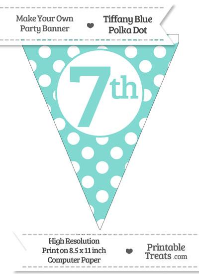 Tiffany Blue Polka Dot Pennant Flag Ordinal Number 7th from PrintableTreats.com