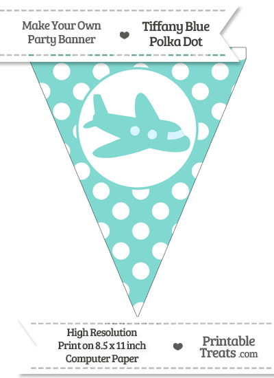Tiffany Blue Polka Dot Pennant Flag with Airplane Facing Right from PrintableTreats.com