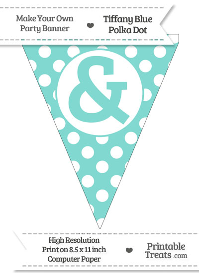Tiffany Blue Polka Dot Pennant Flag with Ampersand from PrintableTreats.com