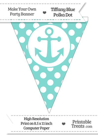 Tiffany Blue Polka Dot Pennant Flag with Anchor from PrintableTreats.com