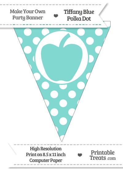 Tiffany Blue Polka Dot Pennant Flag with Apple from PrintableTreats.com