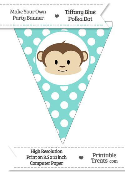 Tiffany Blue Polka Dot Pennant Flag with Boy Monkey from PrintableTreats.com