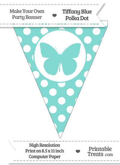 Tiffany Blue Polka Dot Pennant Flag with Butterfly from PrintableTreats.com