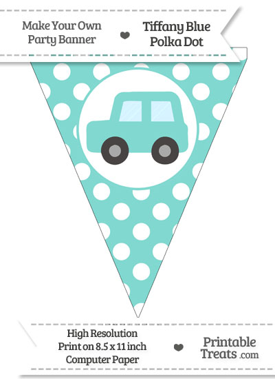 Tiffany Blue Polka Dot Pennant Flag with Car Facing Left from PrintableTreats.com