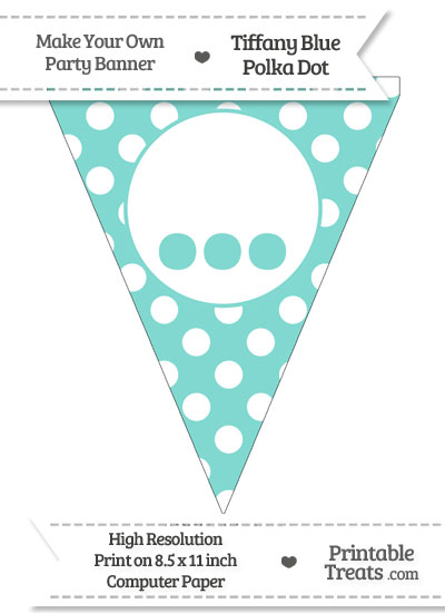 Tiffany Blue Polka Dot Pennant Flag with Ellipses from PrintableTreats.com