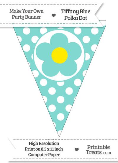 Tiffany Blue Polka Dot Pennant Flag with Flower from PrintableTreats.com