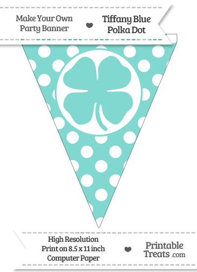 Tiffany Blue Polka Dot Pennant Flag with Four Leaf Clover Facing Left from PrintableTreats.com