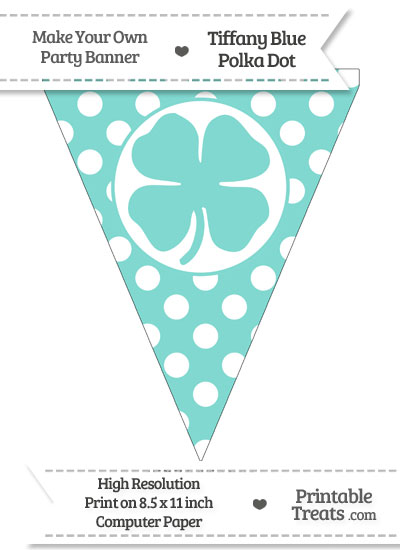 Tiffany Blue Polka Dot Pennant Flag with Four Leaf Clover Facing Right from PrintableTreats.com