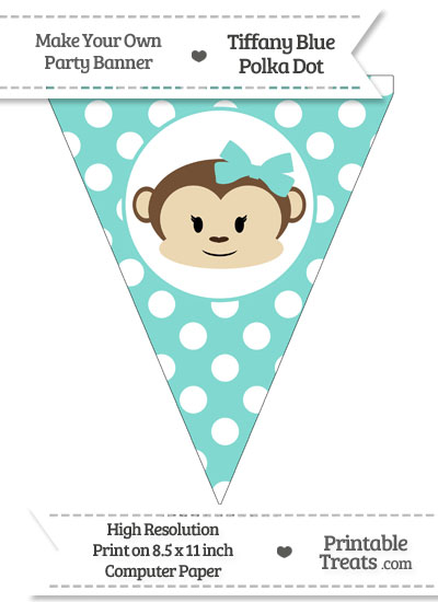 Tiffany Blue Polka Dot Pennant Flag with Girl Monkey from PrintableTreats.com