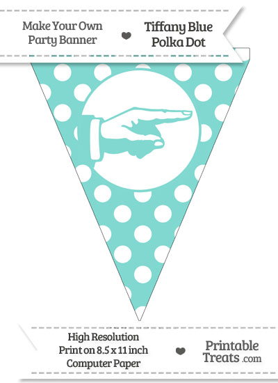 Tiffany Blue Polka Dot Pennant Flag with Hand Pointing Right from PrintableTreats.com