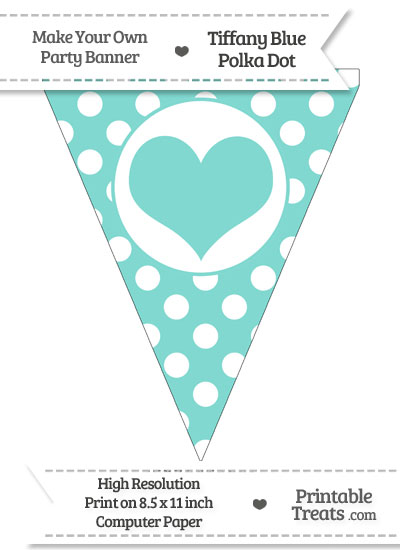 Tiffany Blue Polka Dot Pennant Flag with Heart from PrintableTreats.com
