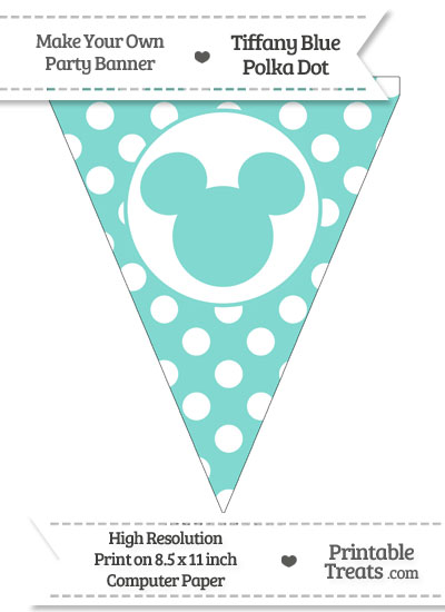 Tiffany Blue Polka Dot Pennant Flag with Mickey Mouse from PrintableTreats.com