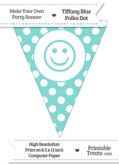 Tiffany Blue Polka Dot Pennant Flag with Smiley Face from PrintableTreats.com