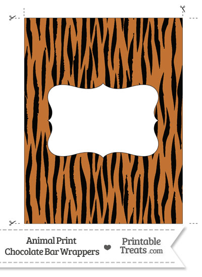 Tiger Print Chocolate Bar Wrappers from PrintableTreats.com