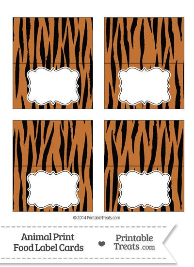 Tiger Print Food Labels from PrintableTreats.com