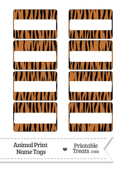 Tiger Print Name Tags from PrintableTreats.com