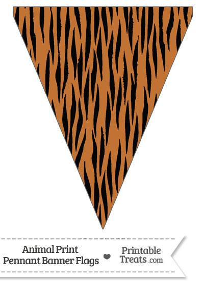 Tiger Print Pennant Banner Flag from PrintableTreats.com