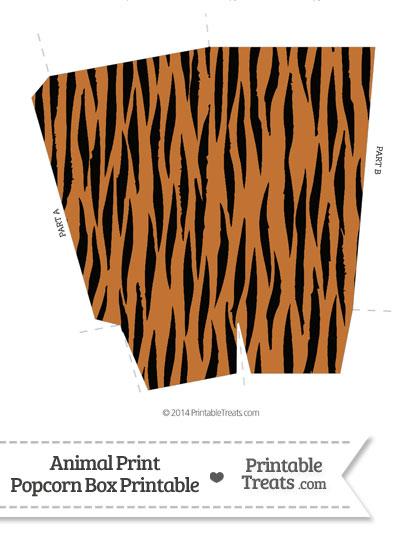 Tiger Print Popcorn Box from PrintableTreats.com