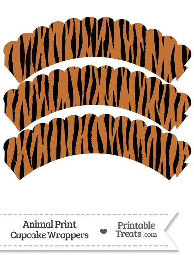 Tiger Print Scalloped Cupcake Wrappers from PrintableTreats.com