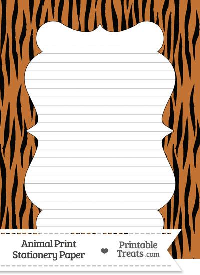 Tiger Print Stationery Paper from PrintableTreats.com
