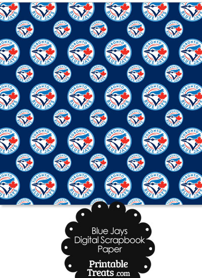 Toronto Blue Jays Baseball Digital Paper with Dark Blue Background from PrintableTreats.com