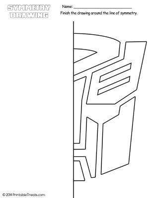 transformers autobots symmetry drawing worksheet