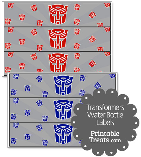 transformers water bottle labels
