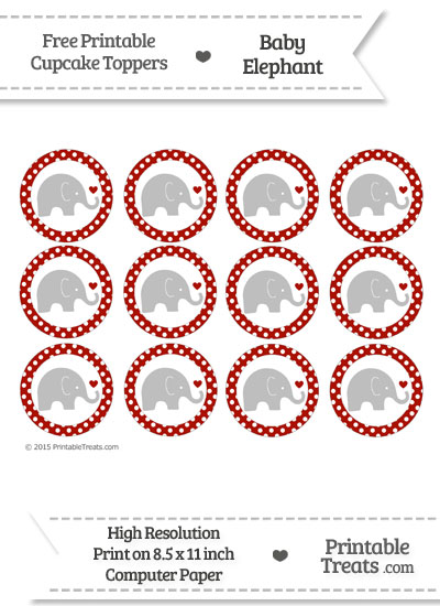 Turkey Red Polka Dot Baby Elephant Cupcake Toppers from PrintableTreats.com