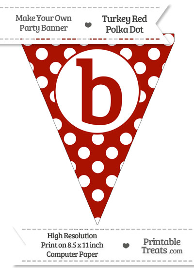Turkey Red Polka Dot Pennant Flag Lowercase Letter B from PrintableTreats.com
