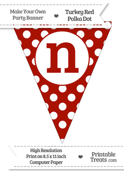 Turkey Red Polka Dot Pennant Flag Lowercase Letter N from PrintableTreats.com