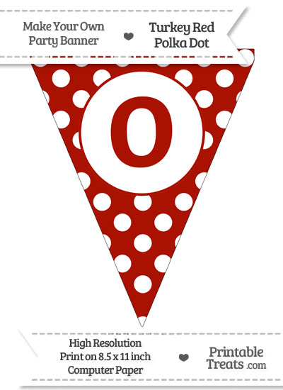 Turkey Red Polka Dot Pennant Flag Lowercase Letter O from PrintableTreats.com