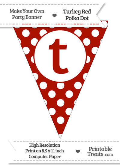 Turkey Red Polka Dot Pennant Flag Lowercase Letter T from PrintableTreats.com
