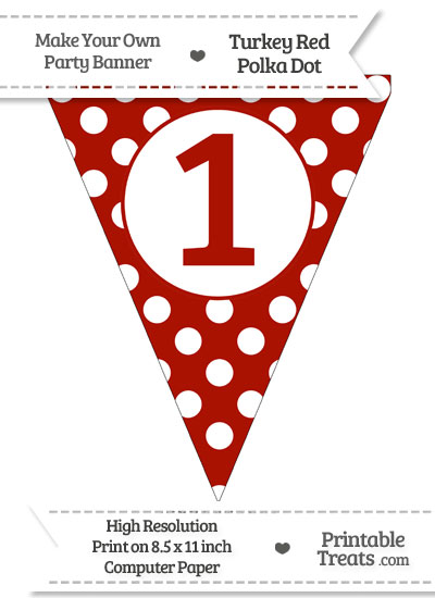 Turkey Red Polka Dot Pennant Flag Number 1 from PrintableTreats.com