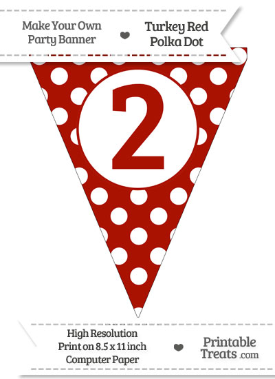 Turkey Red Polka Dot Pennant Flag Number 2 from PrintableTreats.com