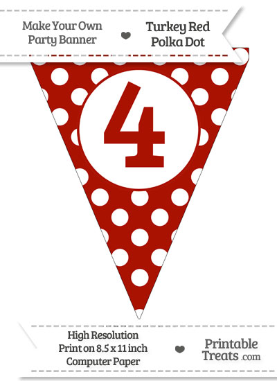 Turkey Red Polka Dot Pennant Flag Number 4 from PrintableTreats.com