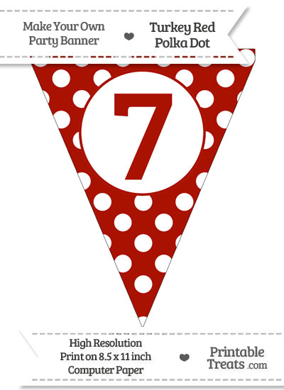 Turkey Red Polka Dot Pennant Flag Number 7 from PrintableTreats.com