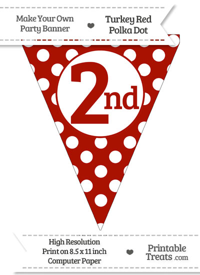 Turkey Red Polka Dot Pennant Flag Ordinal Number 2nd from PrintableTreats.com