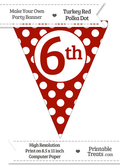 Turkey Red Polka Dot Pennant Flag Ordinal Number 6th from PrintableTreats.com