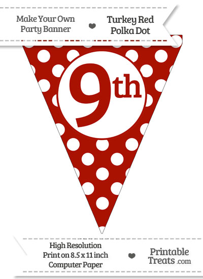 Turkey Red Polka Dot Pennant Flag Ordinal Number 9th from PrintableTreats.com