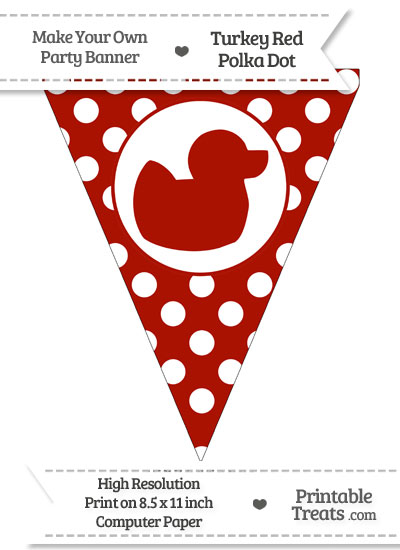 Turkey Red Polka Dot Pennant Flag with Duck Facing Right from PrintableTreats.com