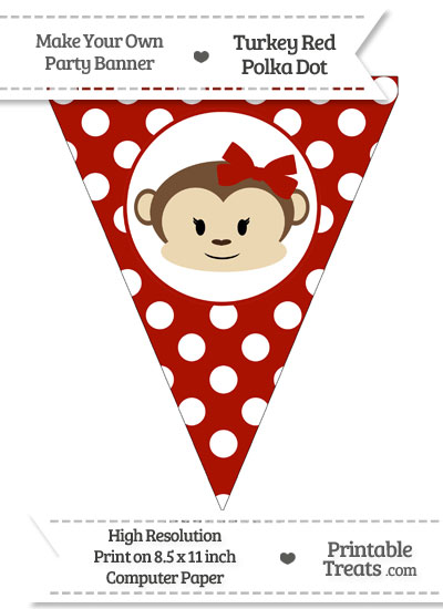 Turkey Red Polka Dot Pennant Flag with Girl Monkey from PrintableTreats.com