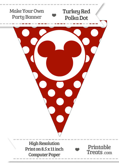 Turkey Red Polka Dot Pennant Flag with Mickey Mouse from PrintableTreats.com