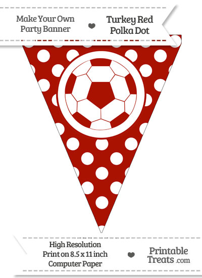 Turkey Red Polka Dot Pennant Flag with Soccer Ball from PrintableTreats.com