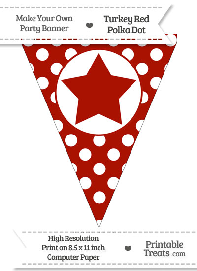 Turkey Red Polka Dot Pennant Flag with Star from PrintableTreats.com